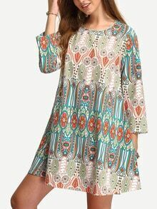 Multicolor Three Quarter Vintage Print Shift Dress