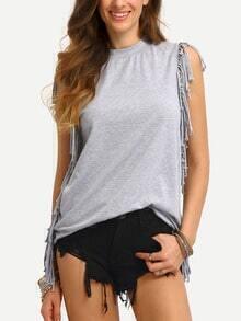 Grey Sleeveless Tassel Side T-shirt