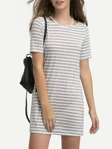 Grey White Striped Cut Away T-shirt Dress
