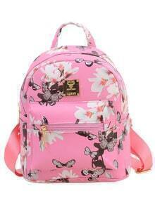 Allover Vintage Flower Print Backpack - Pink
