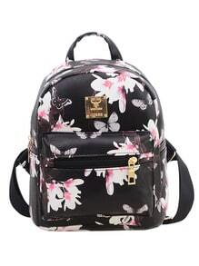 Allover Vintage Flower Print Backpack - Black -SheIn(Sheinside)