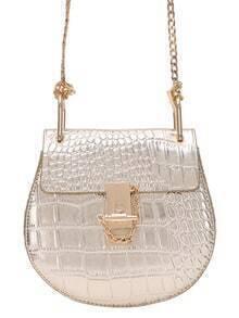 Gold Crocodile Embossed Chain Saddle Bag