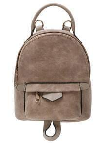 Distressed Faux Leather Backpack - Brown