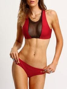 Mesh Neck Cutout Racerback Bikini Set