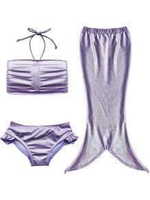 Metallic Purple 3PCS Mermaid Swimwear