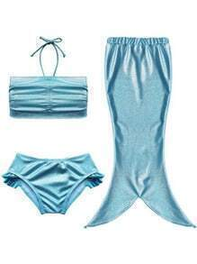 Metallic Blue 3PCS Mermaid Swimwear