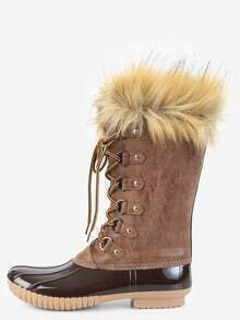 Faux Fur Trim Duck Boots BROWN