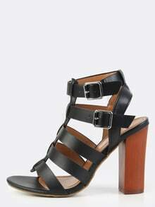 Gladiator Chunky Heels BLACK