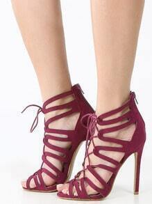 Cut Out Lace Up Caged High Heels WINE