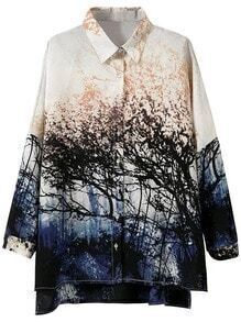 Multicolor Dip Hem Split Side Landscape Print Blouse