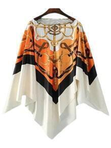 Multicolor Boat Neck Irregular Hem Print Cloak Blouse