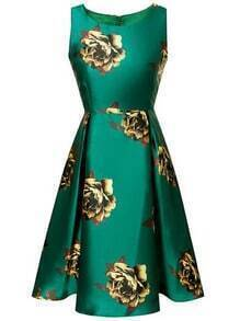 Green Sleeveless High Waist Flowers Print Flare Dress
