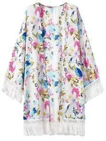 Multicolor Bell Sleeve Fringed Floral Printed Cardigan Kimono