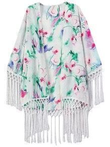 Multicolor Floral Printing Fringed Cardigan Kimono