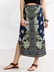 Multicolor Elastic Waist Split Side Vintage Print Long Skirt