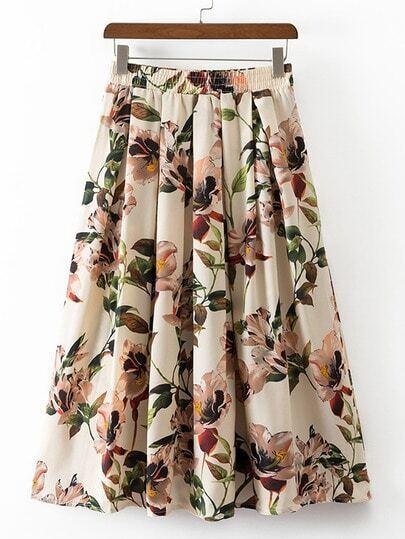 Multicolor Elastic Waist Flowers Print Pleated Skirt