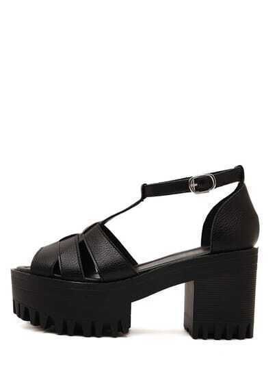 Black Lug Sole Ankle Strap Gladiators