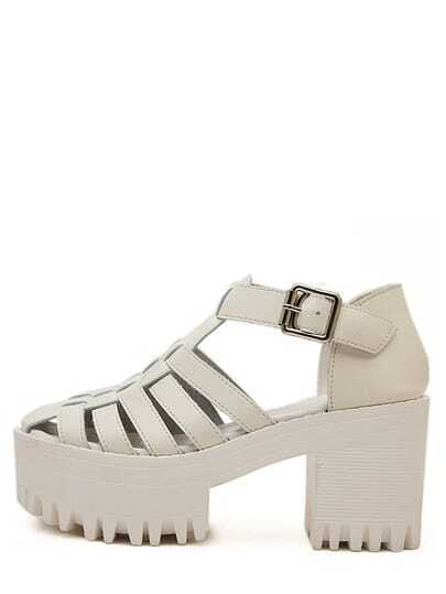 White Lug Sole Cut Out Chunky Sandals