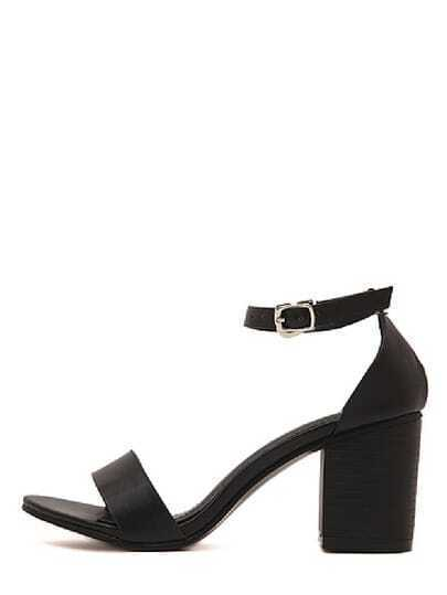 Black Faux Suede Open Toe Ankle Strap Chunky Sandals