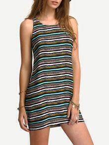 Multicolor Sleeveless Striped Vest Dress