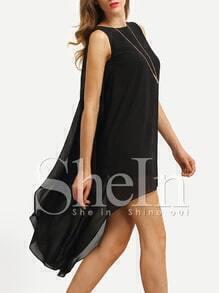 Black Sleeveless High Low Chiffon Dress