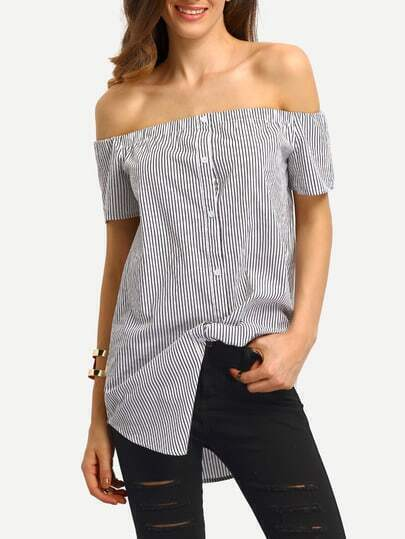 Black White Vertical Striped Off The Shoulder Blouse
