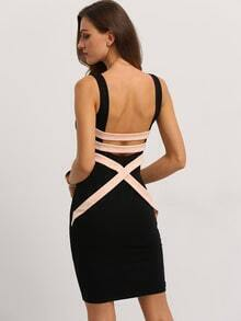 Black Sleeveless Patchwork Hollow Back Bodycon Dress
