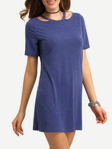 Blue Short Sleeve Hollow T-shirt Dress