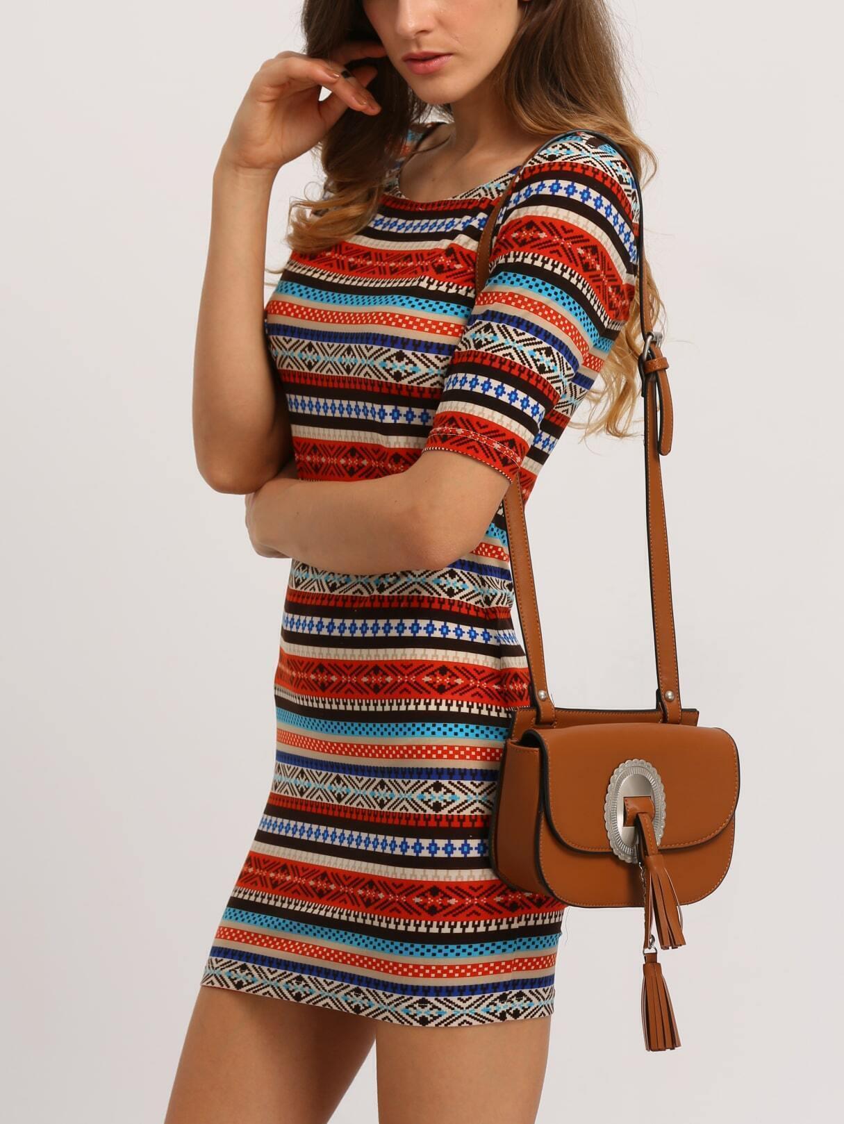 Multicolor Striped Print U Back Bodycon Dress