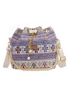 Tribal Print Chain Drawstring Canvas Bucket Bag