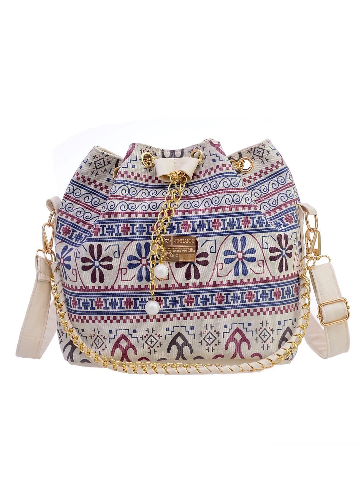 Tribal Print Chain Drawstring Canvas Bucket Bag