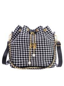 Houndstooth Chain Drawstring Canvas Bucket Bag