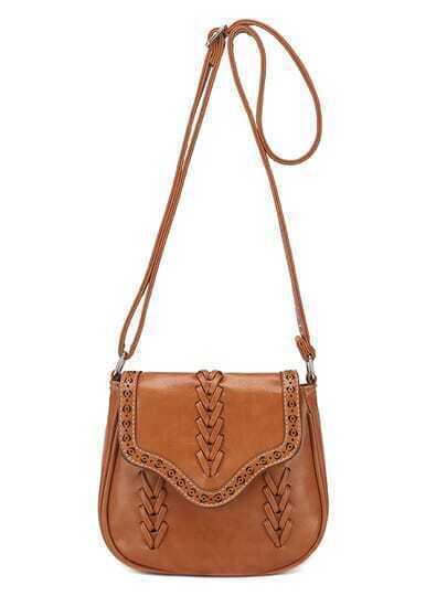 Braided Laser-Cut Flap Saddle Bag - Light Brown