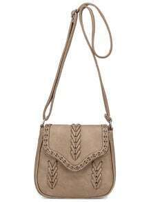 Braided Laser-Cut Flap Saddle Bag - Camel