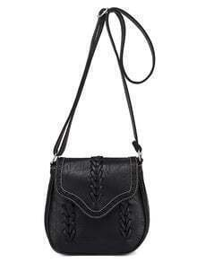 Braided Laser-Cut Flap Saddle Bag - Black