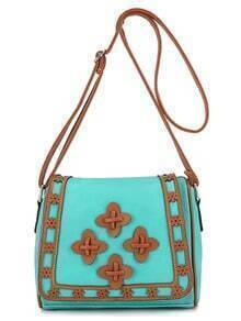 Laser-Cut Patch Embellished Flap Bag - Light Green