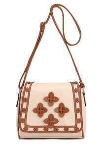 Laser-Cut Patch Embellished Flap Bag - Beige