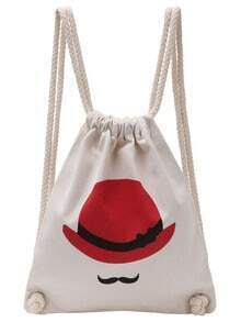 Red Hat Print Canvas Drawstring Bag