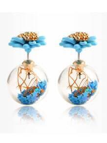 Daisy Double Sided Stud Earrings - Blue
