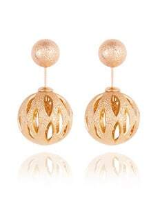 Cutout Ball Double Sided Earrings - Gold