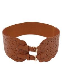 Laser-Cut Wide Waist Dual Buckle Belt - Brown