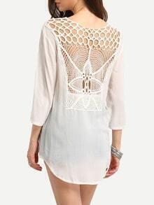 Crochet Back Lace-Up Neck Blouse