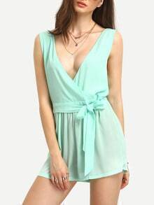Surplice Front Backless Self-Tie Romper
