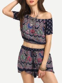 Tribal Print Off-The-Shoulder Top With Shorts