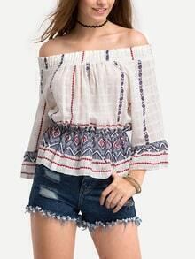 Off-The-Shoulder Printed Peplum Blouse