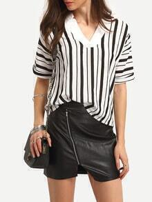 Vertical Striped Contrast Neck Blouse