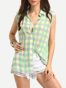 Colorful Checkerborad Sleeveless Blouse
