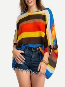 Color Block Chiffon Poncho Blouse
