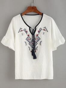 Embroidery Tassel-Tie Neck Ruffle Sleeve Blouse