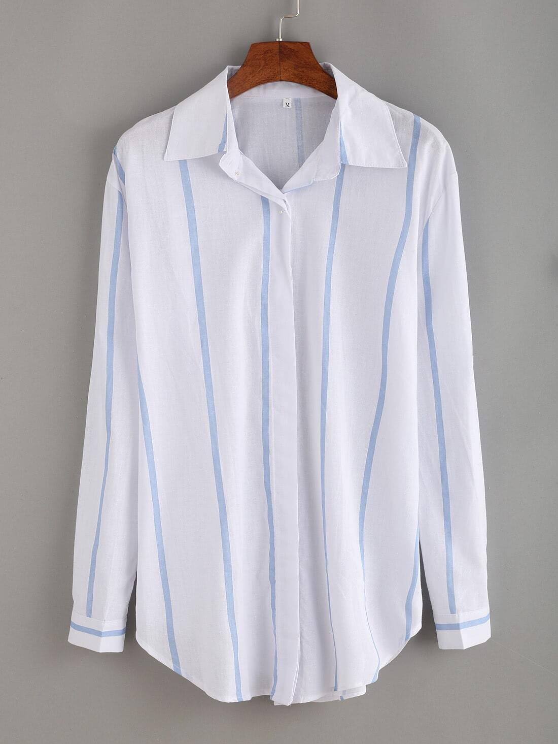 Vertical Striped Pointed Collar Curved Hem Shirt striped curved hem shirt dress